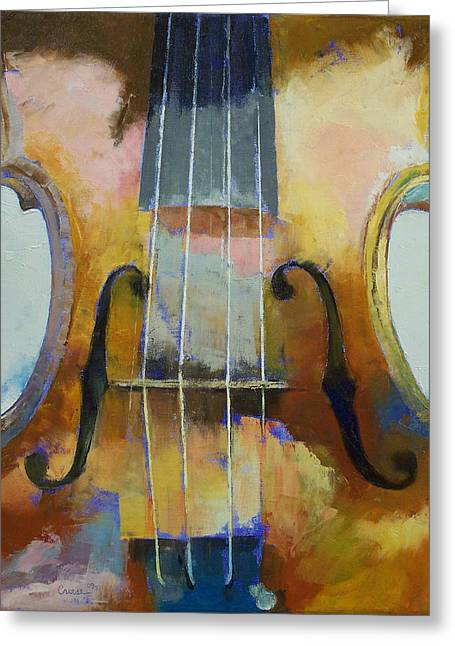 Symphonies Greeting Cards - Violin Painting Greeting Card by Michael Creese