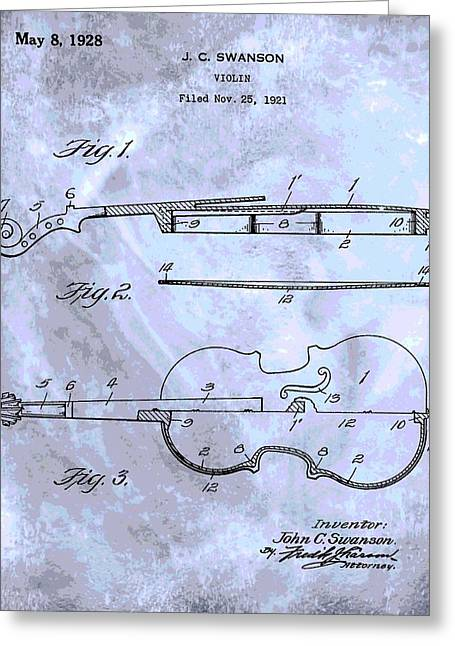 Violin Bows Violin Bows Greeting Cards - Violin Patent Poster Greeting Card by Dan Sproul