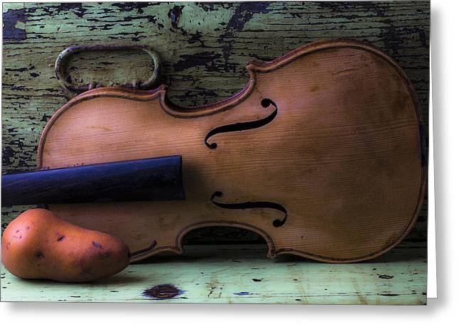 Pears Photographs Greeting Cards - Violin pear study Greeting Card by Garry Gay