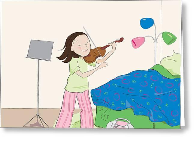 Pajamas Greeting Cards - Violin Practice Greeting Card by Monette Pangan