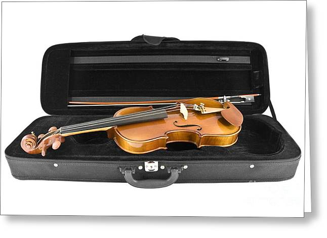 Violin Case Greeting Cards - Violin ready to play Greeting Card by Gregory DUBUS