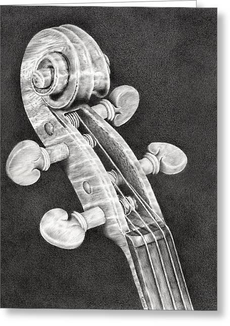 Photorealism Greeting Cards - Violin Scroll Greeting Card by Heidi Vormer