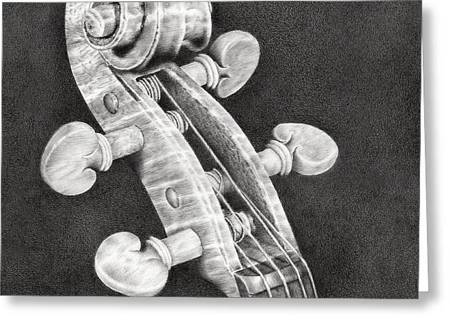 Scroll Drawings Greeting Cards - Violin Scroll Greeting Card by Heidi Vormer