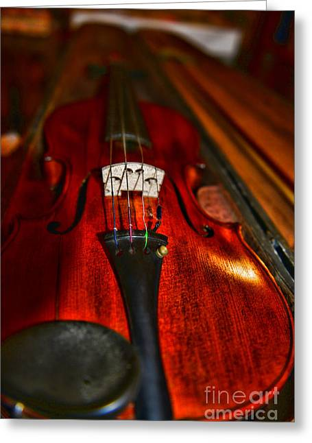 Art Of Lovers Greeting Cards - Violin Study Greeting Card by Paul Ward