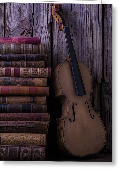 Knowledge Object Greeting Cards - Violin with old books Greeting Card by Garry Gay