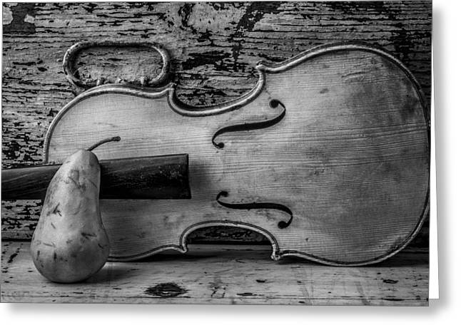 Pears Photographs Greeting Cards - Violin With Pear Greeting Card by Garry Gay