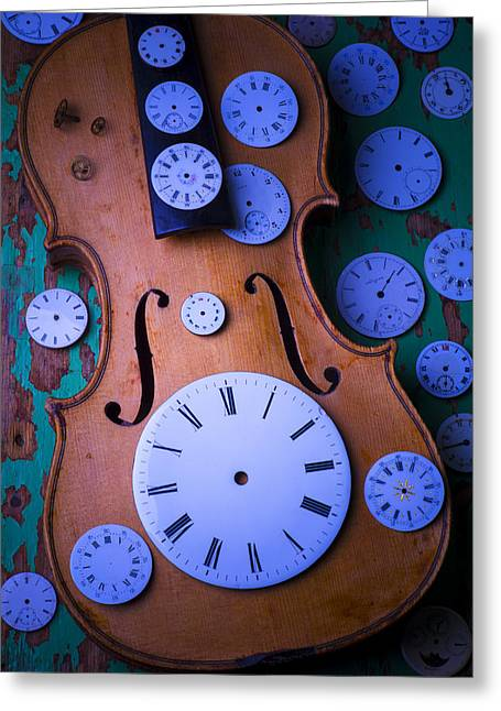 Old Face Greeting Cards - Violin with watch faces Greeting Card by Garry Gay