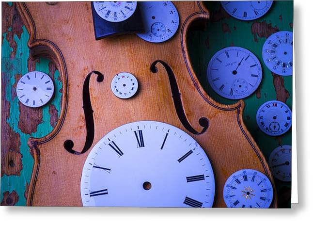 Violin with watch faces Greeting Card by Garry Gay