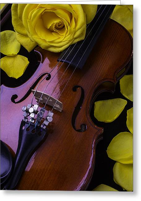 Violin Bows Violin Bows Greeting Cards - Violin With Yellow Rose Greeting Card by Garry Gay