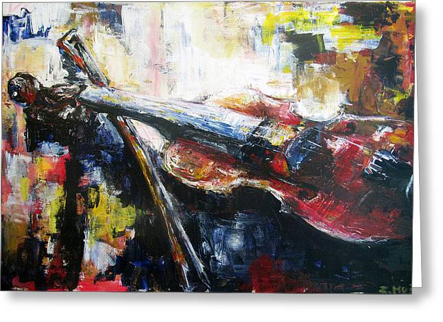 Playing Musical Instruments Greeting Cards - Violin Greeting Card by Zlatko Music