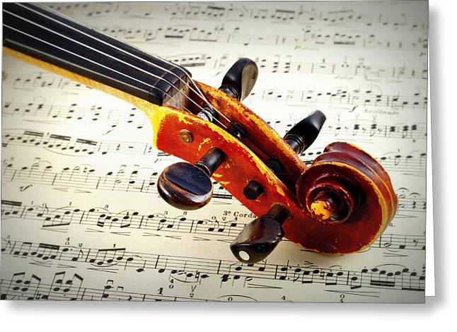 Playing Musical Instruments Greeting Cards - Violine Greeting Card by Chevy Fleet
