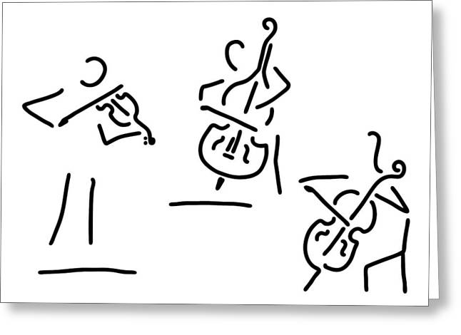 Violin Player Drawings Greeting Cards - Violinist Cellist String Player Contrabass Greeting Card by Lineamentum