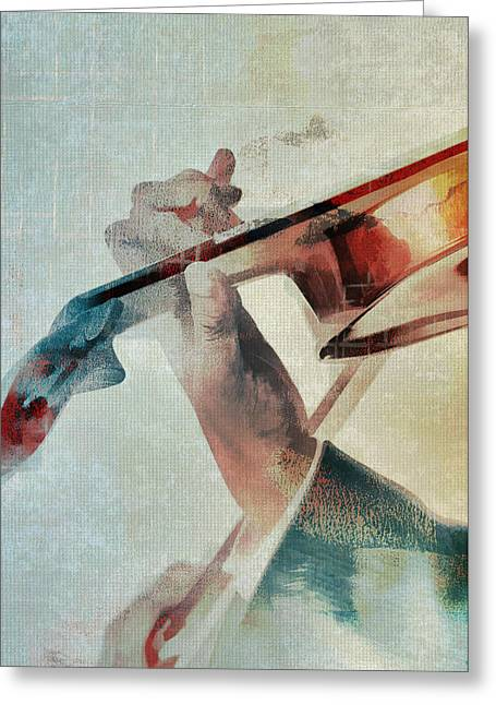 Sleeve Greeting Cards - Violinist Greeting Card by David Ridley
