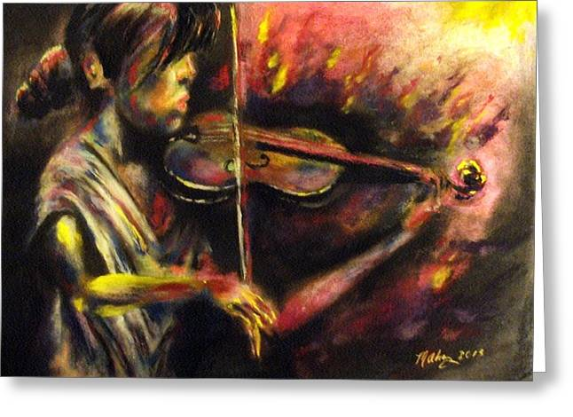 Concerts Pastels Greeting Cards - Violinist Greeting Card by Michael Alvarez