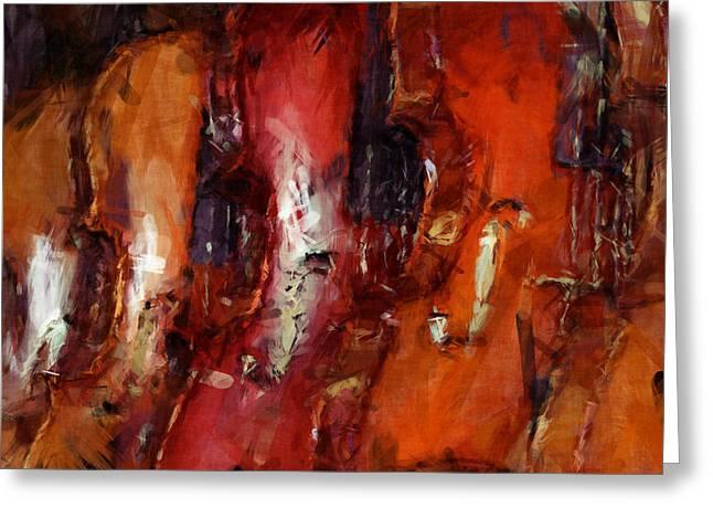 Violin Digital Greeting Cards - Violins Abstract Greeting Card by David G Paul