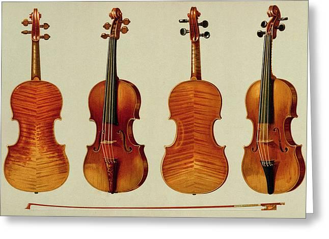 Violins Greeting Card by Alfred James Hipkins