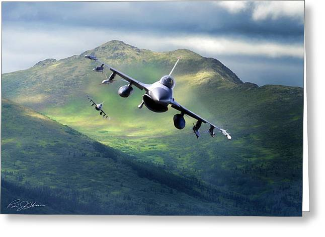 War Planes Greeting Cards - Viper Valley Greeting Card by Peter Chilelli