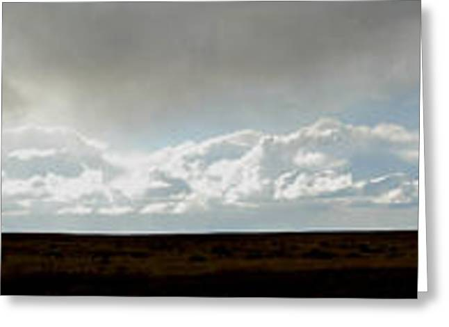 Prescott Greeting Cards - Virga Bands Panoramic Greeting Card by Aaron Burrows
