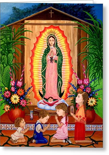 Virgen De Guadalupe Art Greeting Cards - Virgen de Guadalupe #3 Greeting Card by Evangelina Portillo