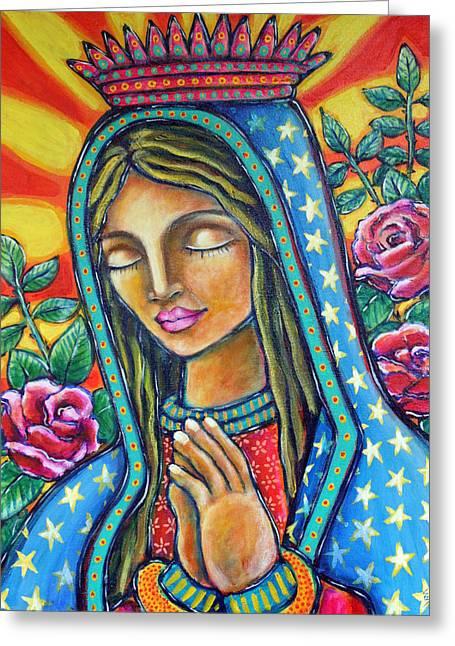 Virgen De Guadalupe Art Greeting Cards - Virgen de Guadalupe Greeting Card by Shelley Bredeson