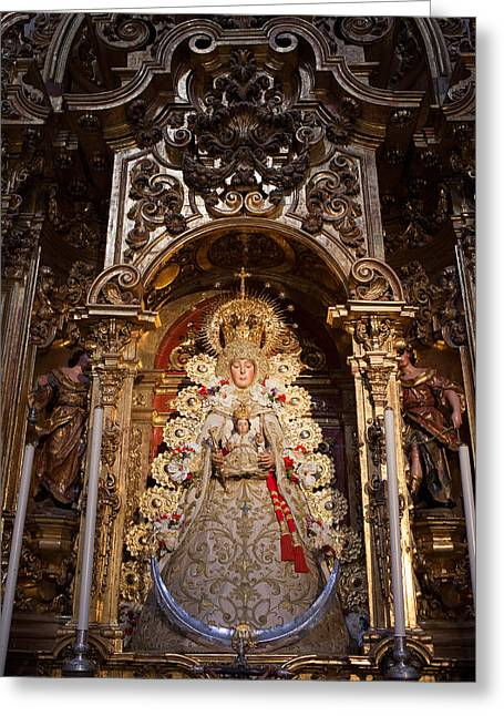 Virgen Del Rocio Reredos In Seville Cathedral Greeting Card by Artur Bogacki