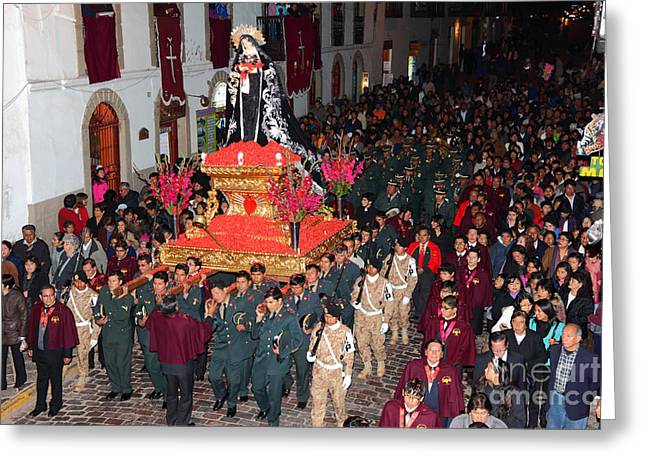 Holy Week Greeting Cards - Virgen Dolorosa Procession Greeting Card by James Brunker