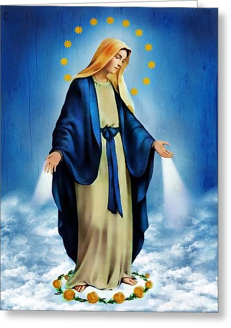Virgin Digital Art Greeting Cards - Virgen Milagrosa Greeting Card by Bibi Romer