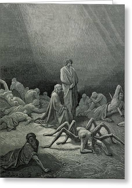 Punishments Greeting Cards - Virgil 70-19 Bc And Dante Looking At The Spider Woman, Illustration From The Divine Comedy Inferno Greeting Card by Gustave Dore