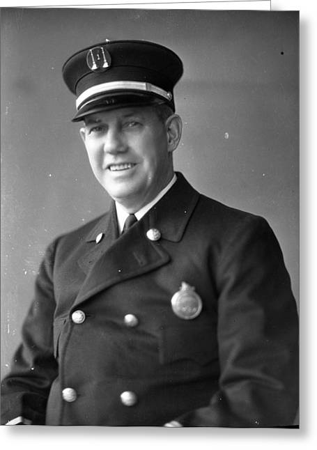 Policemen Greeting Cards - Virgil Bowen Century of Progress Fireman Worlds Fair Chicago Greeting Card by Retro Images Archive