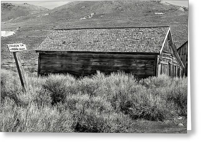 Old West Towns In California Greeting Cards - Virgin Alley bw Greeting Card by Denise Dube