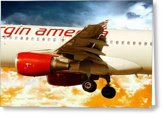 Virgin Digital Art Greeting Cards - Virgin America A320 Greeting Card by Aaron Berg