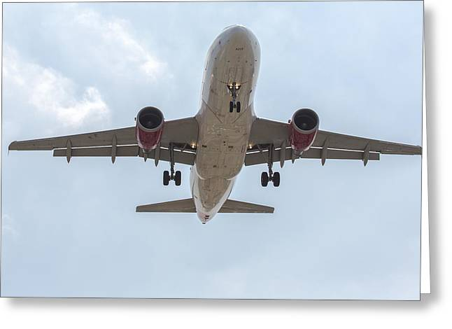 Virgin America Airbus 319 Greeting Card by John Daly