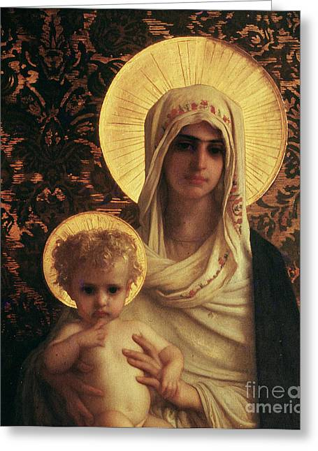 Golds Greeting Cards - Virgin and Child Greeting Card by Antoine Auguste Ernest Herbert
