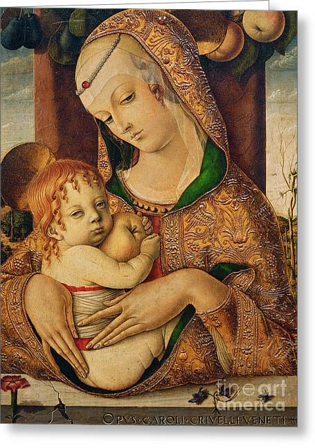 Apple Paintings Greeting Cards - Virgin and Child Greeting Card by Carlo Crivelli
