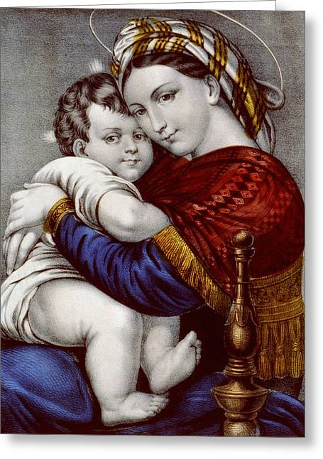 Caring Mother Greeting Cards - Virgin and Child circa 1856  Greeting Card by Aged Pixel
