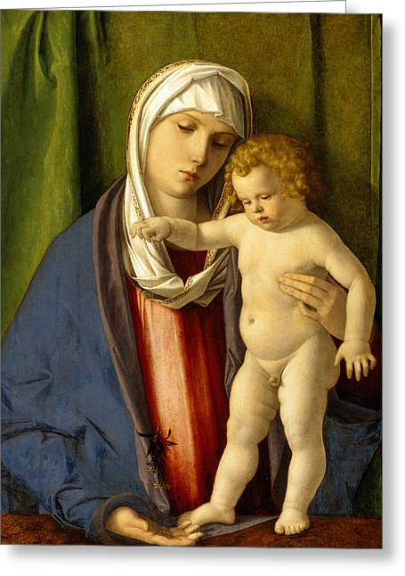 Madonna And Child Greeting Cards - Virgin and Child Greeting Card by Giovanni Bellini