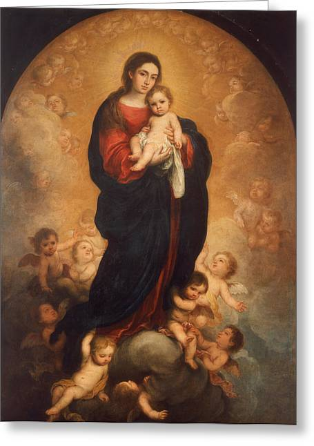 Esteban Greeting Cards - Virgin and Child in Glory Greeting Card by Bartolome Esteban Murillo