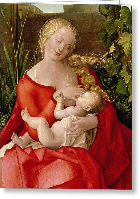 Breast Feeding Greeting Cards - Virgin And Child Madonna With The Iris, 1508 Tempera On Panel Detail Of 22578 Greeting Card by Albrecht Durer or Duerer