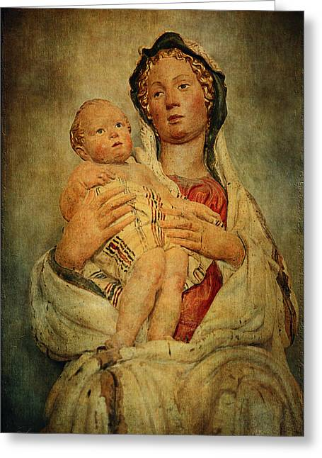 Wooden Sculpture Greeting Cards - Virgin and Child  Greeting Card by Maria Angelica Maira