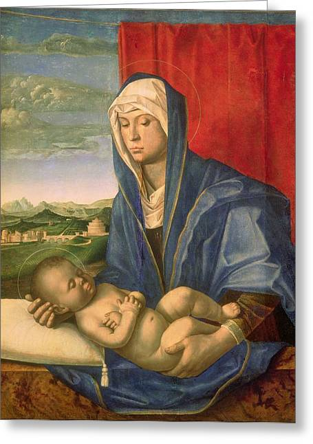 Virgin Mary Photographs Greeting Cards - Virgin And Child Oil On Wood Greeting Card by Giovanni Bellini