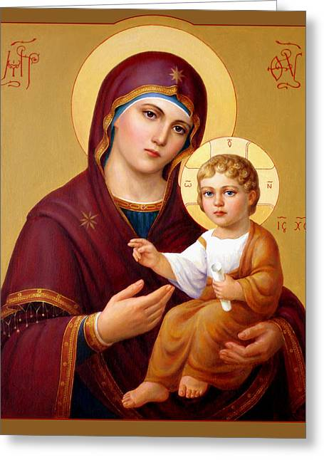 Saint Hope Greeting Cards - Our Lady of the Way - Virgin Hodegetria. Greeting Card by Svitozar Nenyuk