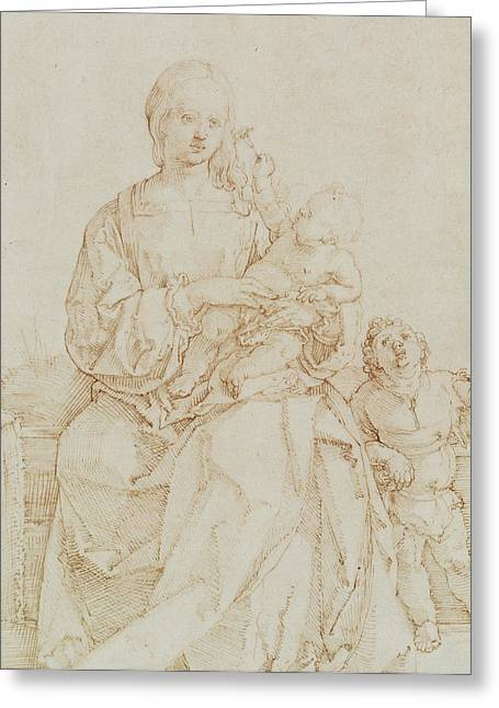 Virgin Mary Drawings Greeting Cards - Virgin and Child with infant St John Greeting Card by Albrecht Durer or Duerer