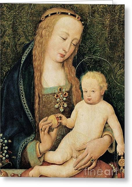 Child Jesus Greeting Cards - Virgin and Child with Pomegranate Greeting Card by Hans Holbein the Younger