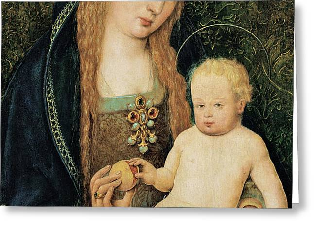 Virgin and Child with Pomegranate Greeting Card by Hans Holbein the Younger