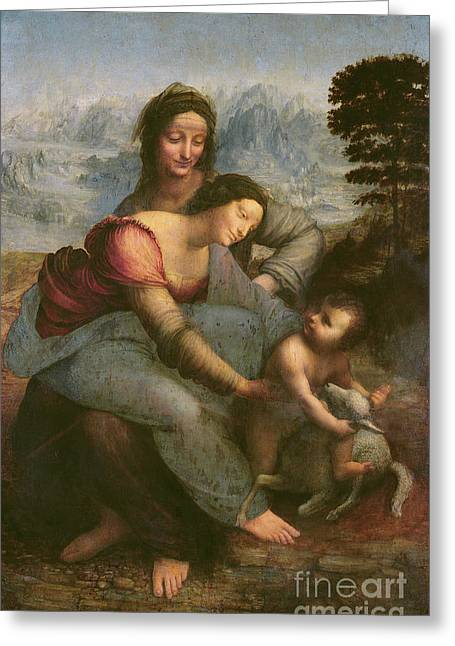 Christ Child Greeting Cards - Virgin and Child with Saint Anne Greeting Card by Leonardo Da Vinci