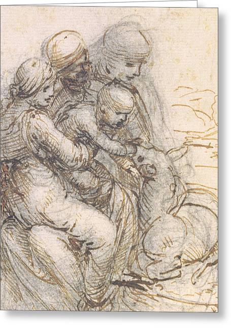 Virgin Mary Drawings Greeting Cards - Virgin and Child with St. Anne Greeting Card by Leonardo da Vinci