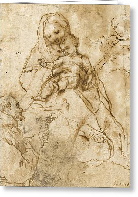 Virgin Mary Drawings Greeting Cards - Virgin And Child With St. Francis Greeting Card by Federico Fiori Barocci or Baroccio