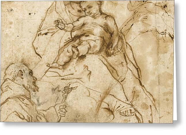 Virgin And Child With St. Francis Greeting Card by Federico Fiori Barocci or Baroccio