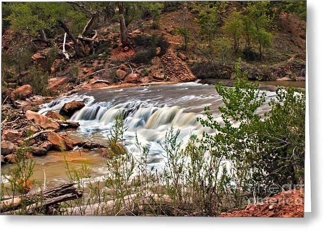 Navajo Basin Greeting Cards - Virgin Falls Greeting Card by Robert Bales