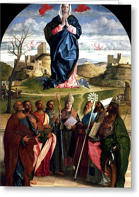 Religious Art Greeting Cards - Virgin In Glory With Saints 1515 Giovanni Bellini Greeting Card by Karon Melillo DeVega